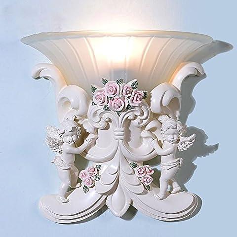 Européenne Résine Ange Cupidon Chambre Couloir lampe murale Applique murale bedsides balcon porche couloir éclairage mural fixations
