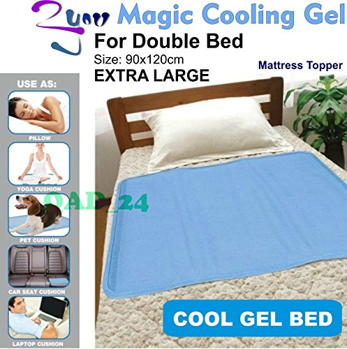 Magic Cooling Gel Blue Cool Pad Mat Orthopedic Mattress Topper Large Pet (Cooling Bed Mat (Double Bed) Extra Large) 2