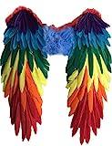 Yummy Bee Echte Federn Vogelflügel Mehrfarbig Groß CSD Papagai Karneval Fasching Kostüm Erwachsene Größe 48cm x 50cm