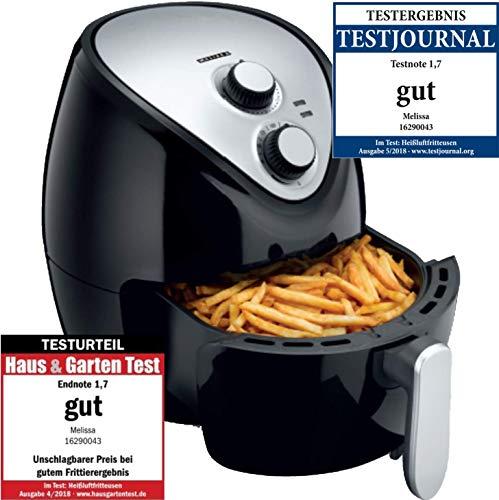 Melissa 16290043 Heissluftfritteuse/Heissluft Fritteuse/Air Deep Fryer XXL mit einstellbarem Thermostat und Timer | ohne ÖL - einfach zu reinigen - mit 3,5 Liter Fassungsvermögen, LOW FAT Fritteuse