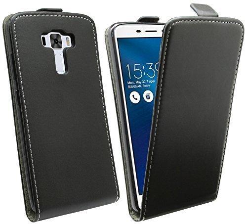 ENERGMiX Handytasche Flip Style für ASUS ZENFONE 3 Deluxe ZS570KL (5,7 Zoll) in Schwarz Klapptasche Tasche Schutz Hülle