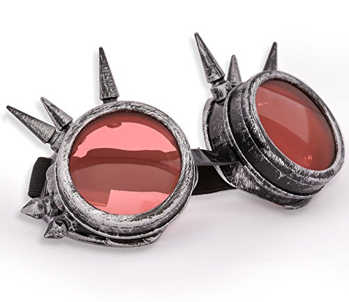 Welding Cyber Goggles Goth Schutzbrille Cosplay Antique Sonnenbrille Victorian Grey Spikes MFAZ Morefaz Ltd