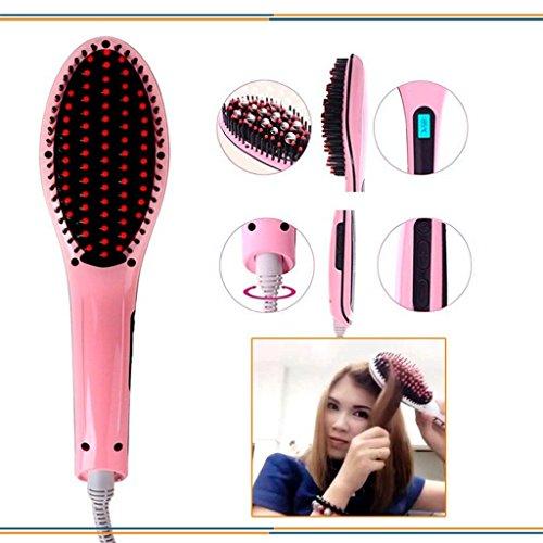 PINK PARI (LABEL) Plastic Fast Hair Straightener Brush with Temperature, 10x12x11cm (Multicolour)