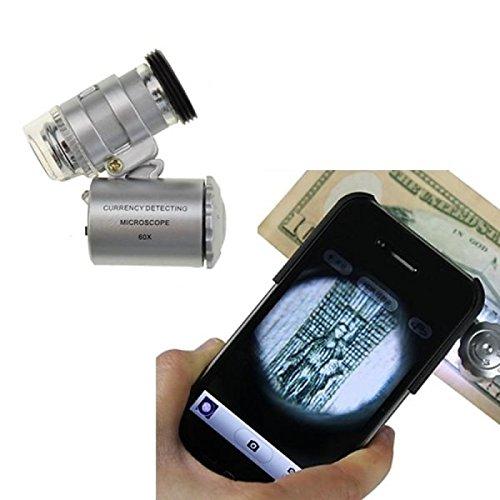 XIEICZG Mini 60x LED-UV-Licht Taschenmikroskop Juwelier Währungslupe einstellbare Lupe mit Argument für iphone 5c
