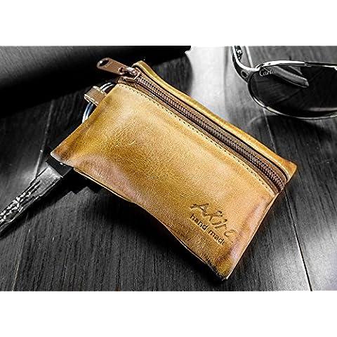 URCOVER® Portachiavi Tascabile | Akira Fatto a Mano | Wallet Case in Vera Pelle marrone | Portamonete Cuoio Artigianale Elegante Business Premium
