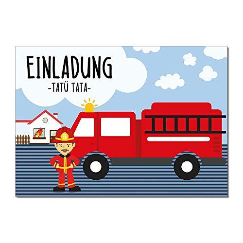 younikat 15 Feuerwehr-Mann Einladungskarten I DIN A6 I Einladung Set Kinder-Geburtstag Einladung zum Ausfüllen für Kinder Jungen Jungs I dv_189 (Einladungen Feuerwehr-geburtstag)