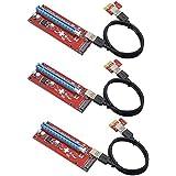 Midore PCI-E Extender,Cable USB 3.0 Convertidor SATA PCI Express PCI-E 1 X a 16 X GPU Riser Card 6 Pin DC fuente de alimentación de cable para BTC Mining 3-Stück