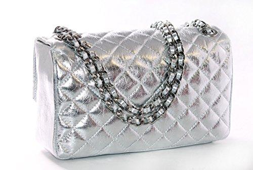 Affascinante E Chic, Damen Schultertasche Una Dimensione Argento Metallizzato