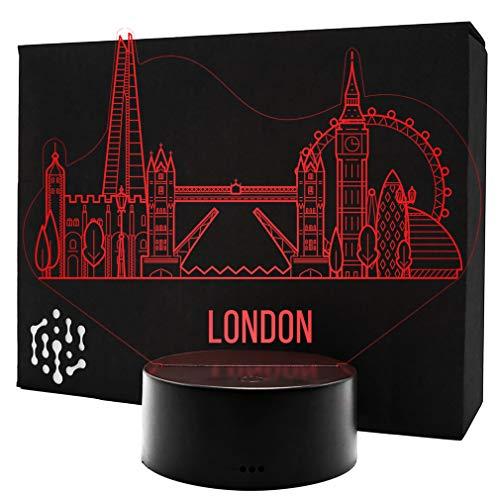 3D LED Lampe Skyline Nachtlicht Leuchte 7 Farben Elbeffekt - London Geschenk Stimmungslicht - Acryl Illusion Dekoration Dekolicht