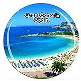Playa de Las Canteras Las Palmas Gran Canaria España Imán de Nevera Cristal 3D Cristal Ciudad Turística Recuerdo de Viaje Colección Regalo Fuerte Refrigerador Pegatina