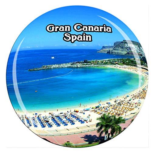 Weekino Strand von Las Canteras Las Palmas Gran Canaria Spanien Kühlschrankmagnet 3D Kristallglas Tourist City Travel Souvenir Sammlung Geschenk Stark Kühlschrank Aufkleber