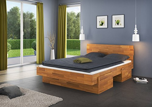 Single bed / Storage bed Medin 5 incl. 4 underbed drawer, solid wild oak wood, oiled - 140 x 200 cm