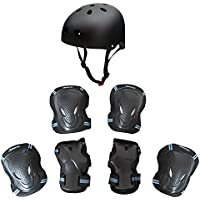 SKL Child's Elbow Wrist Knee Pads and Helmet / Children Sports Safety Protective Gear 7pcs Larger)