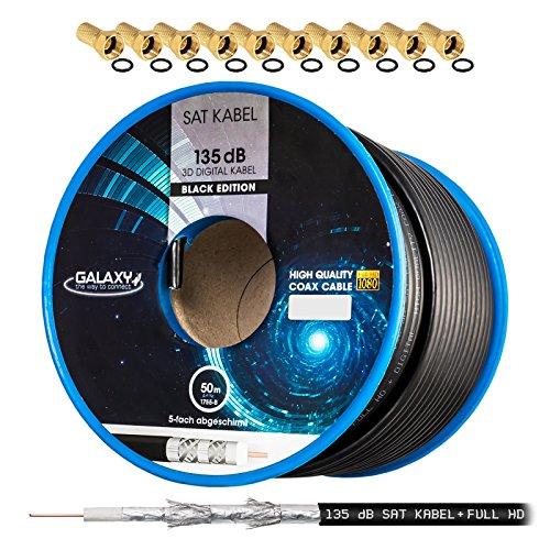 135dB 50m HB DIGITAL Koaxial SAT Kabel 5-Fach geschirmt Schwarz für Ultra HD 4K DVB-S / S2 DVB-C und DVB-T BK Anlagen + 10 vergoldete F-Stecker Set Gratis dazu Koaxial