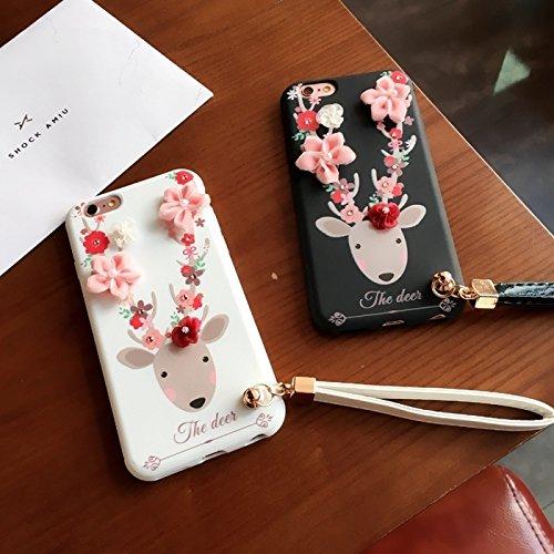 MXNET Fall für iPhone 6 u. 6s, 3D Blumen und Rotwild Muster weicher TPU rückseitiger Abdeckungs-Fall mit Abzuglinie ,Iphone 6/6s Case ( Color : White ) White
