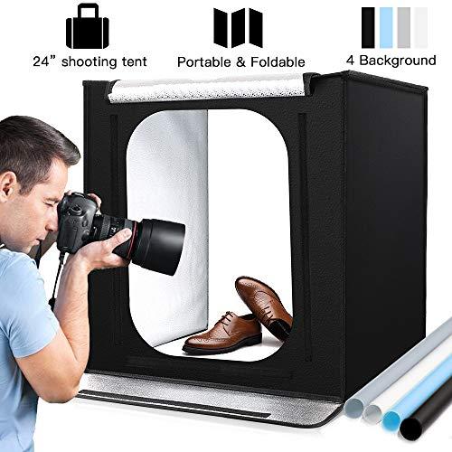 Lichtzelt mit Beleuchtung Fotostudio Set mit LED Leuchte, 60x60x60cm, inkl, Fotozelt Tragbare Lichtwürfel Insgesamt 4 Hintergründe (weiß/ schwarz/ blau/ grau)