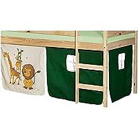 Preisvergleich für IDIMEX Vorhang Gardine Bettvorhang Dschungel zu Hochbett Rutschbett Spielbett in grün/beige mit Tiermotive