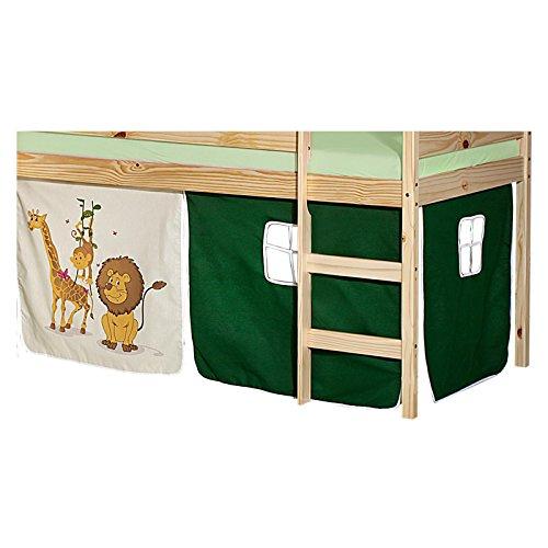 IDIMEX Vorhang Gardine Bettvorhang Dschungel zu Hochbett Rutschbett Spielbett in grün/beige mit Tiermotive