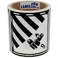 Gefahrgutaufkleber - Klasse 9A - Lithium-Batterien (9) - 100 x 100 mm - 100 Gefahrgutetiketten, Polyethylen, weiß/schwarz, permanent haftend