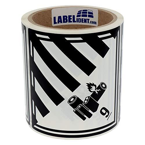 Labelident Gefahrgutaufkleber (100 x 100 mm) - Klasse 9A - Lithium-Batterien, 9-100 Gefahrgutetiketten, Polyethylen, weiß/schwarz, permanent haftend
