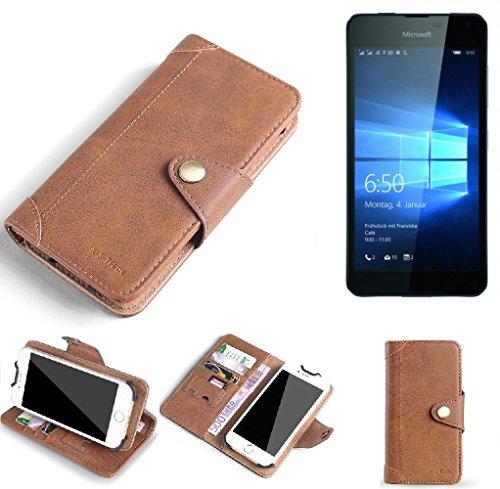 K-S-Trade Hülle für Microsoft Lumia 650 Dual-SIM Schutz Hülle Tasche Handyhülle Schutzhülle Handytasche Wallet case Flipcase Cover Kunstleder Braun