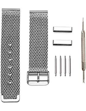 JSDDE Uhrenarmband Mesh Metallarmband aus Edelstahl Geflecht Watch Band mit Dornschließe Federstegwerkzeug Reparatur...