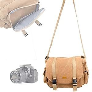 DURAGADGET Sac en toile beige pour appareils photos SLR / reflex Nikon D7000, 600D, D3200 et D5200, Coolpix L31, L340, S33, P900 et L840 et ses accessoires - compartiments modulables