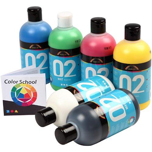 Assortiment de A Color Peinture acrylique Couleurs primaires de mat 32132 de Creativ Company - École Assortiment de couleur pour peinture acrylique et pour acrylique Photos. 6 x 500 ml