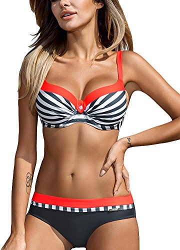 Romacci Damen Bikini Set Damen Bikini Set Bügel Push up Striped Badebekleidung Zweiteilige Strand Badeanzug, Orange 2, S Striped Set