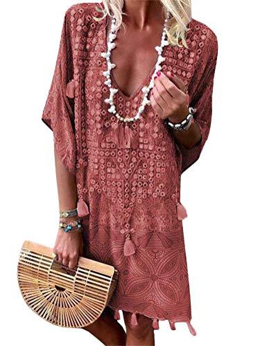 ORANDESIGNE Damen Sommerkleider V-Ausschnitt Strandkleider Kurzarm Casual A-Linie Kleid Boho Kleid Bohemian Quaste Midi Kleid Rot DE 34 - Chiffon Heels Red