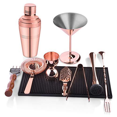 10-teiliges Edelstahl-Cocktail-Set, Boston-Cocktail-Shaker-Kit in Geschenkbox mit Zubehör, einschließlich Glas, Jigger, Sieb, Löffel, Muddler, Ausgießer Glas Jigger