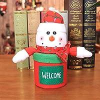 Hffan Weihnachten Candy-Box Süßigkeitenbeutel Aufbewahrungsbox Puppe Tuch Karikatur Dekoration Hauptdekoration Schneemann Pinguin Santa(Schneemann,23 x 14 cm)
