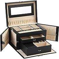 حقيبة لحفظ المجوهرات من ABO Gear Box مع قفل من الجلد الصناعي أسود/أسود/أسود