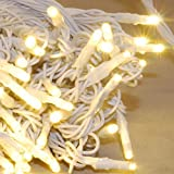 JnDee trade; 100 LED WHITE CABLE Mains Powered Fairy Lights for Home Decoration and Interior Designs 10m (100LED, Warm White)