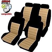 Akhan SB404–Copri sedili per automobile con airbag laterale, colore: nero beige