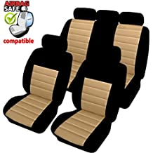 Akhan SB404 - Qualität Auto Sitzbezug Sitzbezüge Schonbezüge Schonbezug mit Seitenairbag Schwarz Beige