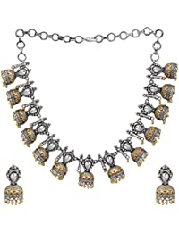 Peora Antique German Silver Plated Dual Tone Oxidised Choker Style Blue Kundan Stone Necklace Earring Set for Women Girls