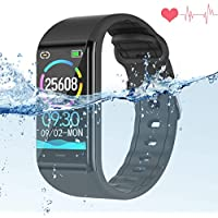 Fitness Watch with Blood Pressure Monitor,IP68 Waterproof Smart Bracelet Wristband Heart Rate Sleep Monitor Activity Tracker Pedometer Stopwatch Call SMS Reminder For Kids Women Men (1.14 inch)