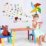 Akimgo (TM) d'amour de bande dessin¨¦e color¨¦e Windmill petite fille mignonne de bricolage Aufkleber muraux enfants Chambre D¨¦cor de nurserie Wandtattoo Tapete DLX5183