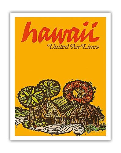 Pacifica Island Art Hawaii-United Air Lines-Native Hawaiian Gras Hütten-Vintage Hawaiian Travel Poster von Jebavy c.1967-Hawaiian Fine Art Print 11