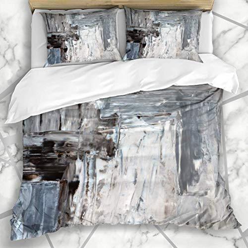Soefipok Bettbezug-Sets Abstrakt Beige Weiß Braun Grau Moderne Malerei Zeitgenössische Linien Design-Palette Mikrofaser Bettwäsche mit 2 Kissenbezügen -