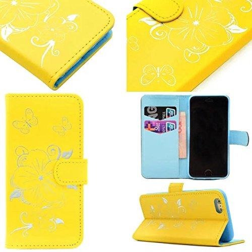 Wkae Case Cover Fleurs Butterfly Gilding Pattern Case Portefeuille Stand Case Horizontal Flip Case PU Housse en cuir TPU pour IPhone 6S 4,7 pouces ( Color : Black , Size : IPhone 6S 4.7 Inch ) Yellow