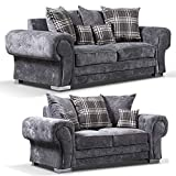 sleepkings New Venezia Chesterfield Style Fabric Corner Or 3+2 In Grey Or Mink Foam Seats (3+2 Sofa Set)