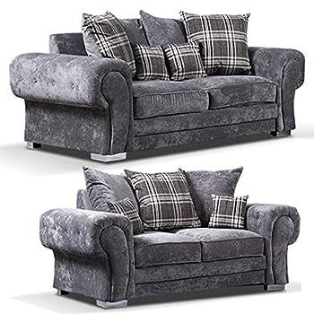 sleepkings New Verona Chesterfield Style Fabric Corner Or 3+2 In Grey Or Mink Foam Seats (Corner Sofa)
