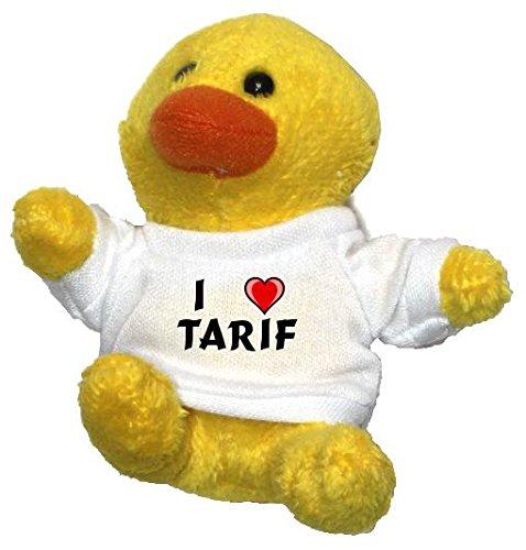 Preisvergleich Produktbild Plüsch Hähnchen Schlüsselhalter mit einem T-shirt mit Aufschrift mit Ich liebe Tarif (Vorname/Zuname/Spitzname)