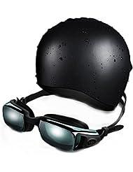 Gafas de natación de OMorc, de primera calidad de silicona gafas de natación con la protección UV y contra la niebla Tecnología para hombres y mujeres, gorro de baño incluido.