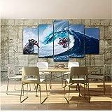 AnnBlue Moderno Foto Abstracta Decoración para el hogar Fotos Arte de la Pared 5 Panel HD Cartel Osos Ola de Mar Peces Gigantes Pintura de la Lona Marco