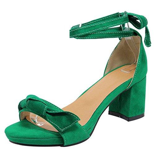 Coolcept Mujer Moda Sin Cordones Sandalias Punta Abierta Singback Planos Zapatos (38 EU, Green)