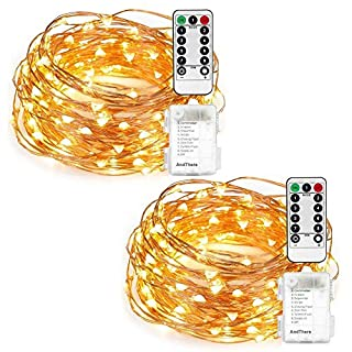 2 PCS Fairy String Lights AndThere Battery Operated Waterproof 8 Modes Twinkling 50 LED Bottle Light Copper Wire Firefly Light Remote Control for DIY Party Bedroom Festive Patio Porch Tent Christmas