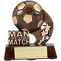 "3.25"" Man of the Match Football Trophy Award Gold/Bronze with Free Engraving up to 30 Letters A879"